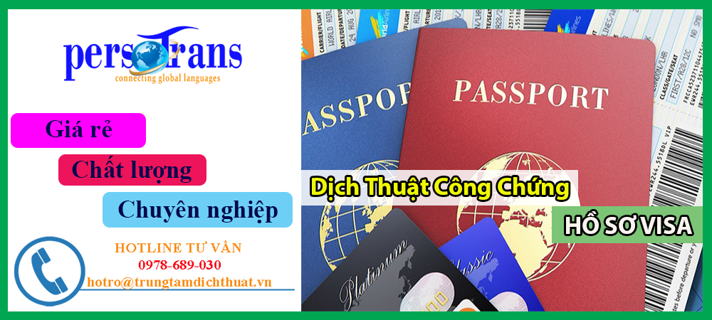dịch thuật công chứng hồ sơ xin visa