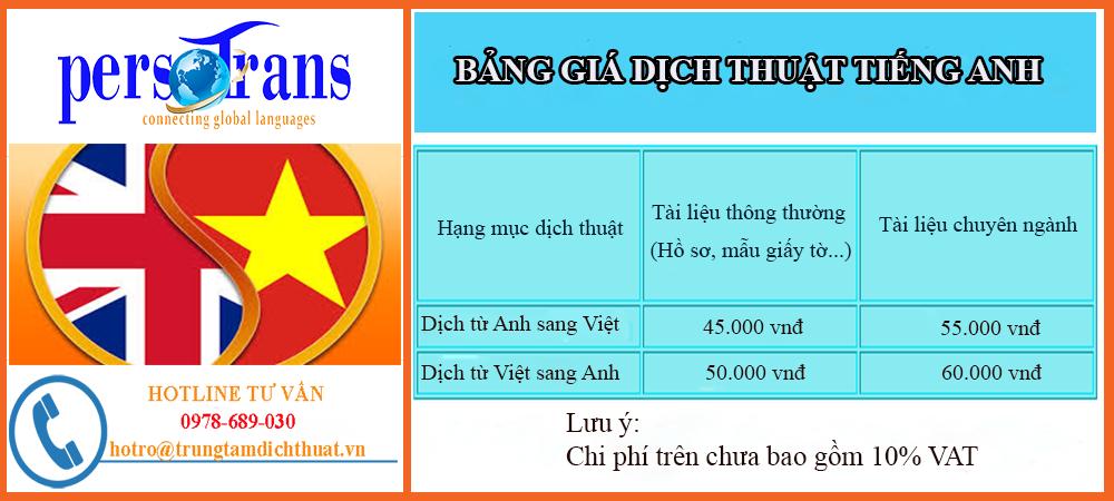 Bảng giá dịch thuật tiếng Anh tại Persotrans