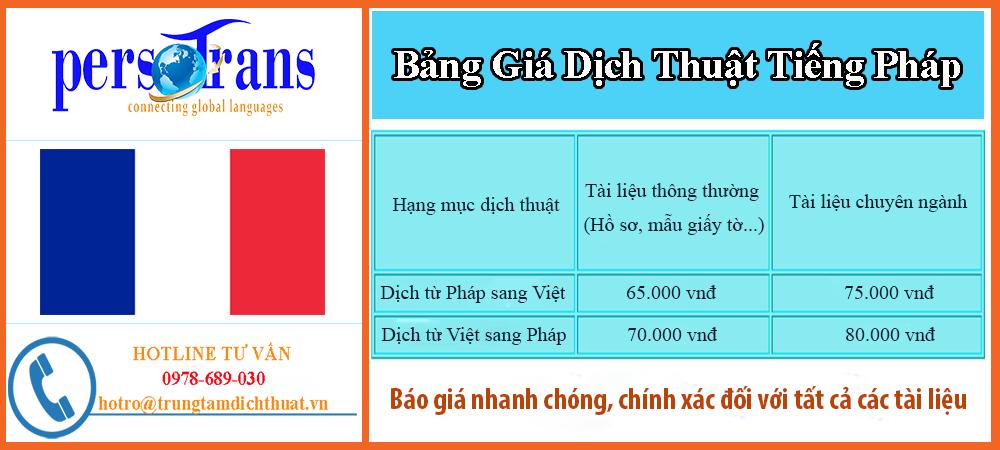 bảng báo giá dịch thuật tiếng pháp