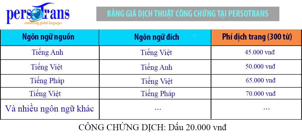 Bảng giá dịch thuật công chứng tại Persotrans