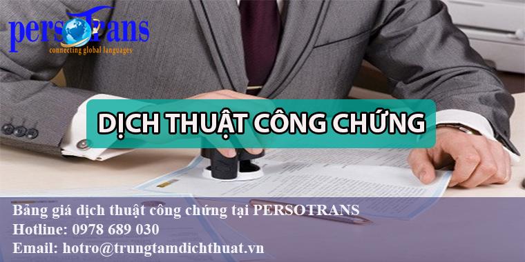 Báo giá dịch thuật công chứng nhanh chóng và chính xác tại Persotrans