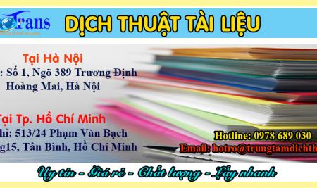 Dịch Thuật Tài Liệu Uy Tín Giá Rẻ Lấy Nhanh Chất Lượng Tại Hà Nội Tp.Hcm