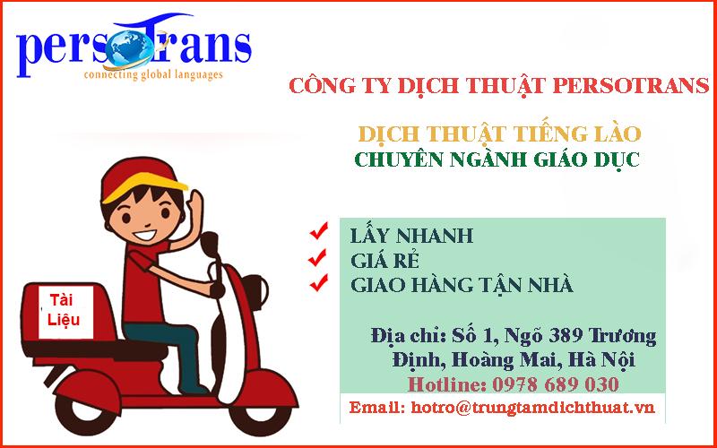 Chất lượng dịch vụ dịch tài liệu tiếng Lào chuyên ngành giáo dục tại PERSOTRANS