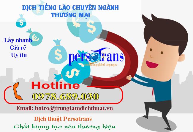 PERSOTRANS – đơn vị cung cấp dịch vụ dịch tài liệu tiếng Lào chuyên ngành thương mại chất lượng, uy tín, giá rẻ